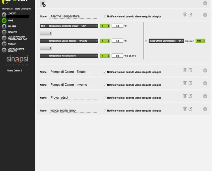 ESOLAR 3 - Interfaccia Web - gestione oggetti KNX e setup logiche funzionamento