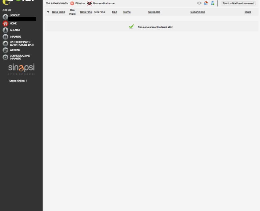 ESOLAR 3 - Interfaccia Web - pagina notifica allarmi vuota