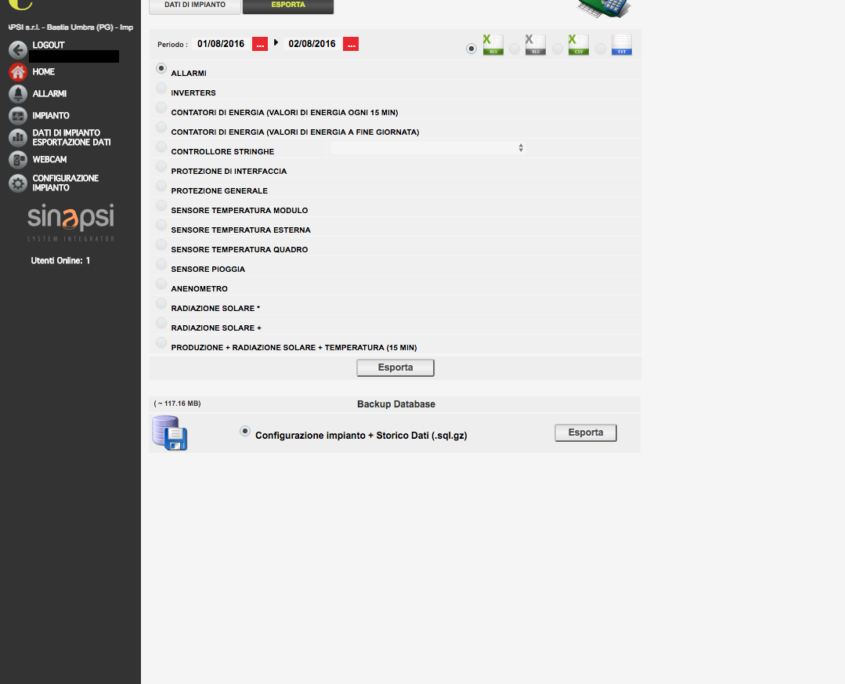 ESOLAR 3 - Intrefaccia Web - tool export dati