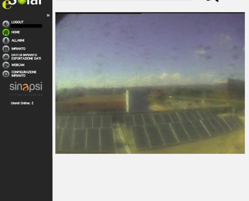 ESOLAR 3 - Interfaccia Web - visualizzazione realtime webcam frontale